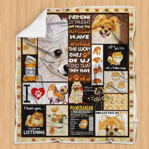 Life is Better with a Pomeranian Blanket - Rescue Pet Dog Lovers- Gift for Anniversary Wife Husband Girlfriend Boyfriend Pets-Moon & Back