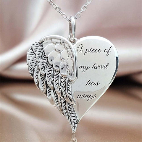 Love Heart Wings Elegant Whisper Angel Necklace-Moon & Back