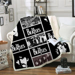 Lovely 3D The Beatles Printed Sherpa Blanket-Moon & Back-BZKH1438-Queen 60INCHx80INCH-Moon & Back