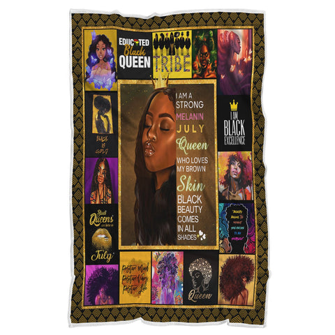 Melanin Black Queen Blanket, Educated Black Queen Blanket-Moon & Back