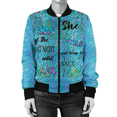 Mermaid Pattern Bomber Jacket, Gift For Mermaid Lovers-Moon & Back