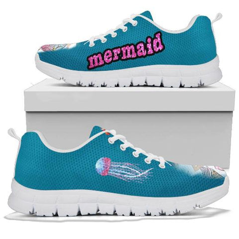 Mermaid Pattern Sneaker, Mermaid Lovers, Gift For Girls-Moon & Back