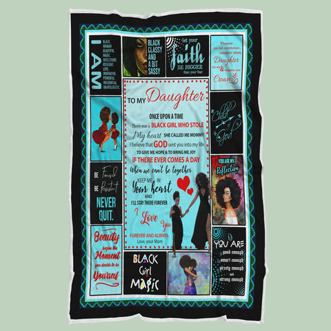 Mom to Daughter Blanket,Black Girl Blanket,Black Lives Matter,African Women - RH2705-Moon & Back
