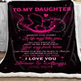 Mom to Daughter Forever and Always Starry Blanket, Gift for Daughter, Gift from Papa to Daughter-Moon & Back