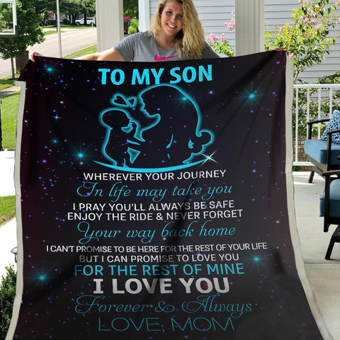 Mother and Son Blanket, From Mom to Son Blanket, Blanket for Son, My Dear Son - DG6739-Moon & Back