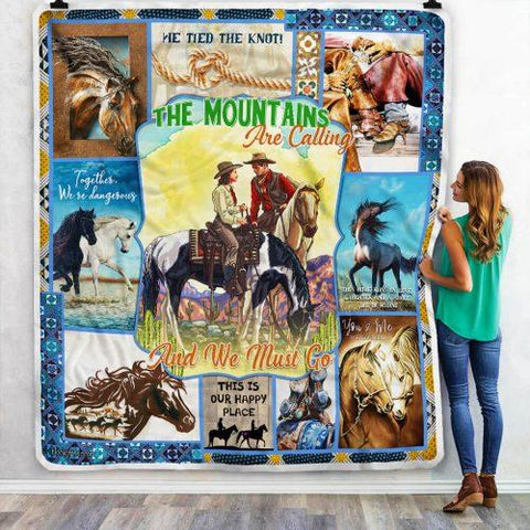 Mountains Calling Cowboy Pattern Blanket, Horse Lovers Gift-Moon & Back
