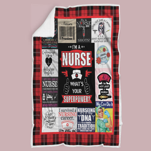 Nurse Blanket, Gift for Nurse, Gifts for Essential Worker, Gift for Health Workers-Moon & Back