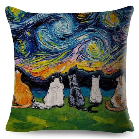 Oil Painting Cat Pillow Case-Moon & Back-cat-2-Moon & Back