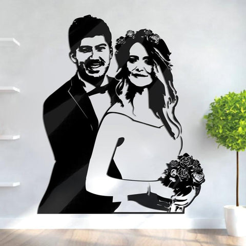 Personalized 3D Acrylic Wedding Wall Sticker-Moon & Back-Moon & Back
