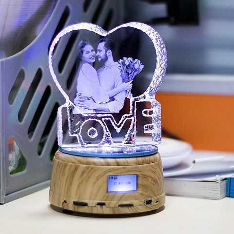 Personalized 3D Photo Crystal LED Lamp - Bluetooth MP3 Player-Moon & Back-Wood-Moon & Back