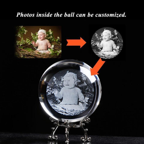 Personalized 3D Photo Engraved Crystal Glass Globe-Moon & Back-6 cm (2.36in)-With silver base-Moon & Back