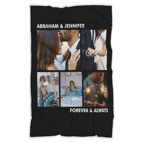 "Personalized Blanket - Photo Anniversary / Birthday-Sherpa Blanket-wc-fulfillment-Adult 70""x44""-Moon & Back"