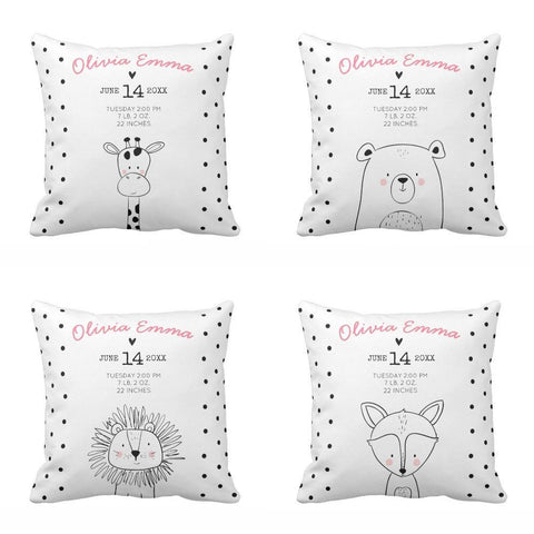 Personalized Baby Birth Stats Nursery Throw Pillow Cover-Moon & Back-40 x 40 CM-Color2-Moon & Back