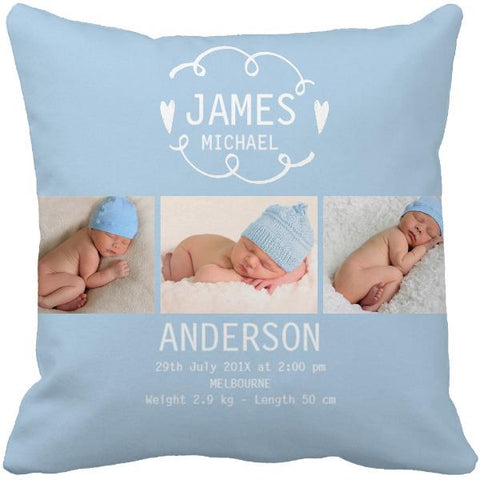 Personalized Baby Name Birth Photo Stats Throw Pillow Cover - Pink and Blue-Moon & Back-16X16Inch(40x40cm)-Blue-Moon & Back