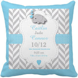Personalized Baby Name Birth Stats Throw Pillow Cover - Cute Elephant Print-Moon & Back-16X16Inch(40x40cm)-Light Blue-Moon & Back