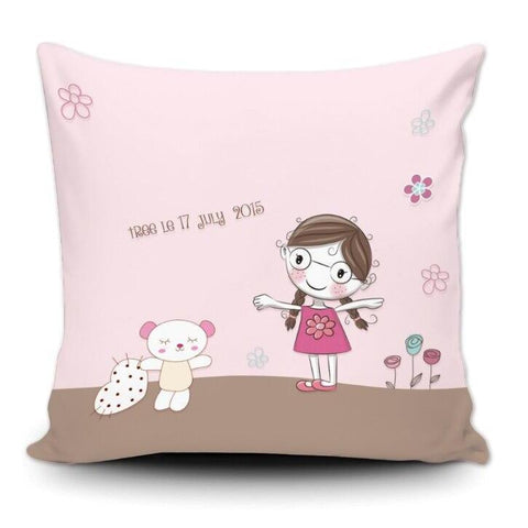 Personalized Baby Name Birth Stats Throw Pillow Cover- Cute Girl and Teddy-Moon & Back-Cotton Polyester-18X18Inch(45x45cm)-Moon & Back