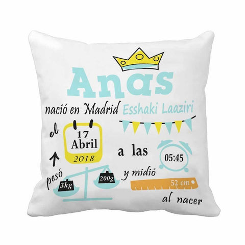 Personalized Baby Name Birth Stats Throw Pillow Cover- Decorative Pattern-Moon & Back-Cotton Polyester-12X20Inch(30x50cm)-Moon & Back