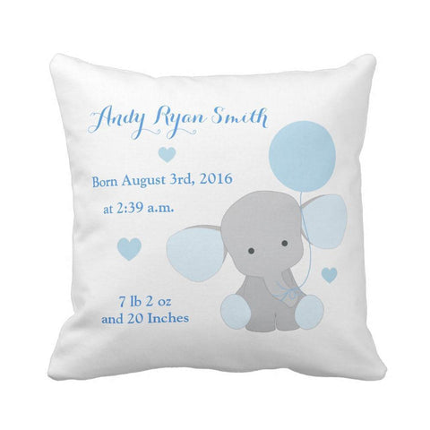 Personalized Baby Name Birth Stats Throw Pillow Cover - For Boy and Girl Elephant Print-Moon & Back-16X16Inch(40x40cm)-Blue-Moon & Back