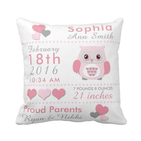 Personalized Baby Name Birth Stats Throw Pillow Cover - Owl-Moon & Back-16X16Inch(40x40cm)-Pink-Moon & Back