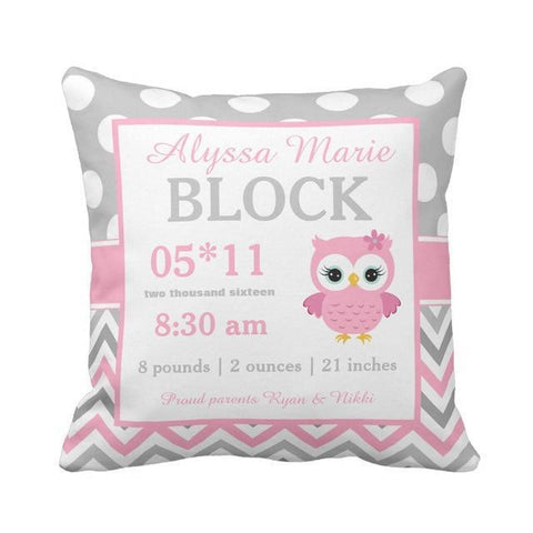Personalized Baby Name Birth Stats Throw Pillow Cover - Pink Owl-Moon & Back-16X16Inch(40x40cm)-Pink-Moon & Back