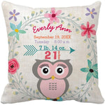Personalized Baby Name Birth Stats Throw Pillow Cover - Pink Owl-Moon & Back-16X16Inch(40x40cm)-Moon & Back