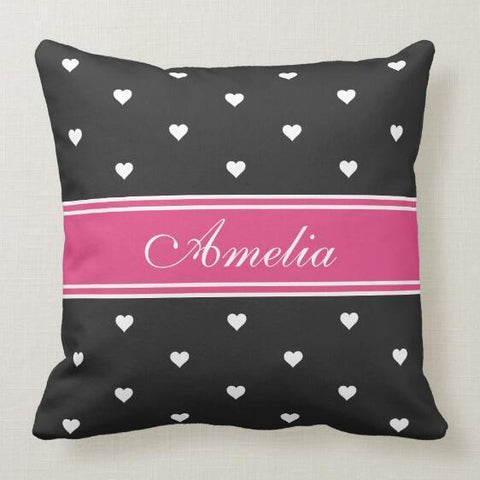 Personalized Baby Name Throw Pillow Cover - Tiny Hearts-Moon & Back-Moon & Back