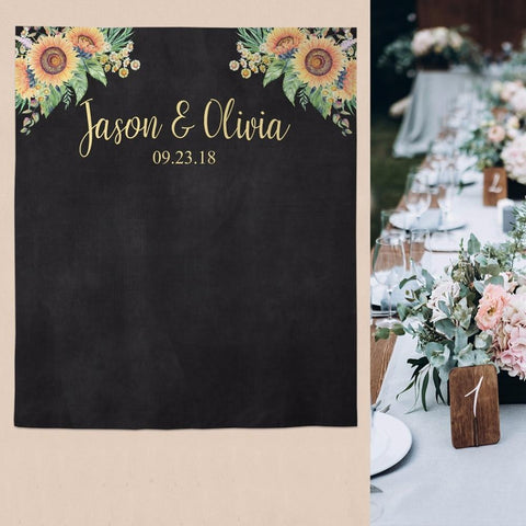 Personalized Black Banner and Sunflower Backdrop-Moon & Back-W100xH150CM-Moon & Back