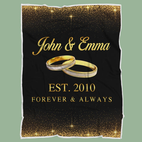 Personalized Couple Anniversary Blanket - Forever & Always-Moon & Back-Youth 60X36Inch(152x91cm)-Moon & Back