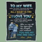 Personalized Couple Anniversary Blanket -To My Wife You Are My One And Only-Moon & Back-Youth 60X36Inch(152x91cm)-Moon & Back