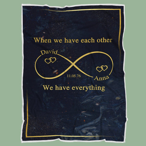 Personalized Couple Blanket, When We Have Each Other, Valentine's Day, Anniversary-Moon & Back