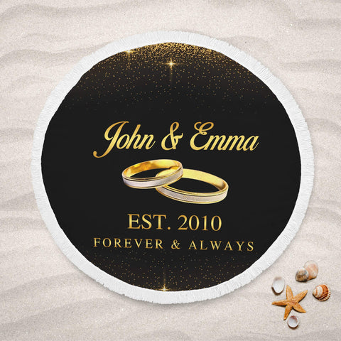 Personalized Couple Name Round Beach Towel - Anniversary, Valentine's Day, Wedding Gift, Honeymoon-Moon & Back