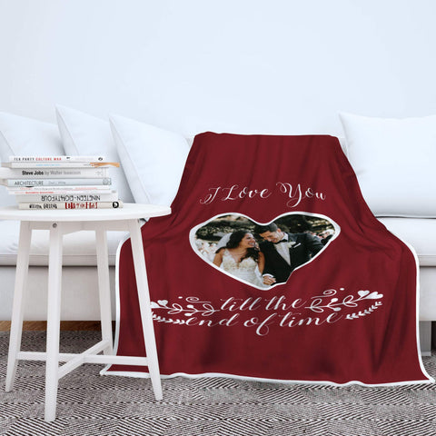 Personalized Couple Photo Blanket, Heart, Valentine's Day, Anniversary, Lovers Romantic Gift-Moon & Back
