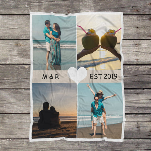Personalized Couple Photo Blanket, Love Birds, Valentine's Day, Lovers Romantic Gift-Moon & Back