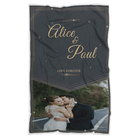 Personalized Couple Photo Blanket, Love Forever, Blanket Gift For Wedding, Special Gift For Your Loved Ones- FA4019-Moon & Back