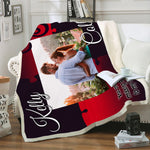 Personalized Couple Photo Blanket, Stone, Valentine's Day, Anniversary, Romantic Gift-Moon & Back
