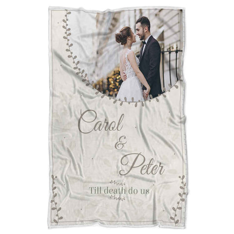 Personalized Couple Photo Blanket,Till Death Do Us,Blanket Gift for Wedding,Special Gift for your Loved Ones- FA4021-Moon & Back