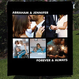Personalized Couple Photos Anniversary Blanket-Moon & Back