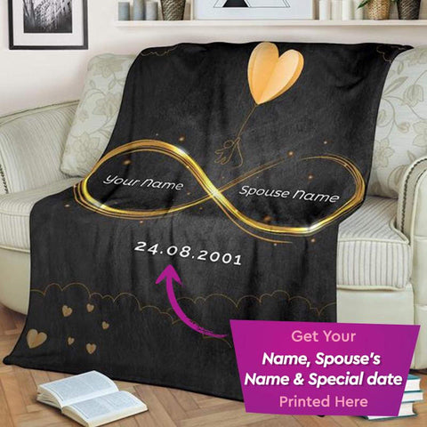 Personalized Couple's Anniversary Blanket, Blanket for Couples, Blanket for Husband-Wife-Moon & Back