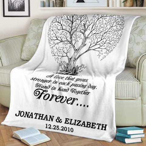 Personalized Couple's Anniversary Blanket, Blanket for Couples, Hand in Hand Together Forever Blanket-Moon & Back