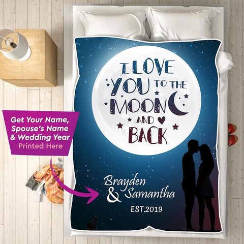 Personalized Couple's Anniversary Blanket, I love You To The Moon Blanket for Couples-Moon & Back