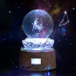 Personalized Crystal Photo Night Light - Bluetooth Mp3 Music Player with LED Display-Moon & Back-Wood base-Moon & Back