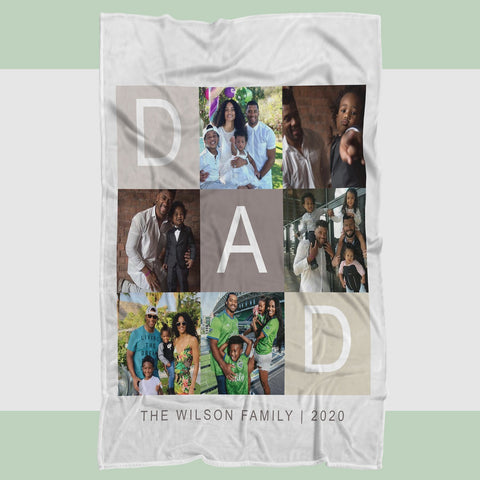 Personalized Dad Photo Blanket, Blanket for Dad, Blankets for Fathers, Family Blanket, Fathers' Day Gift, Daughter to Dad, Gift for Dad - RH2707-Moon & Back