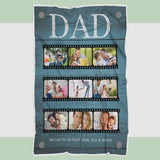 Personalized Dad Photo Blanket, Blanket for Dad, Blankets for Fathers, Family Blanket - Fathers' Day Gift, Daughter to Dad, Gift for Dad - RH2724-Moon & Back