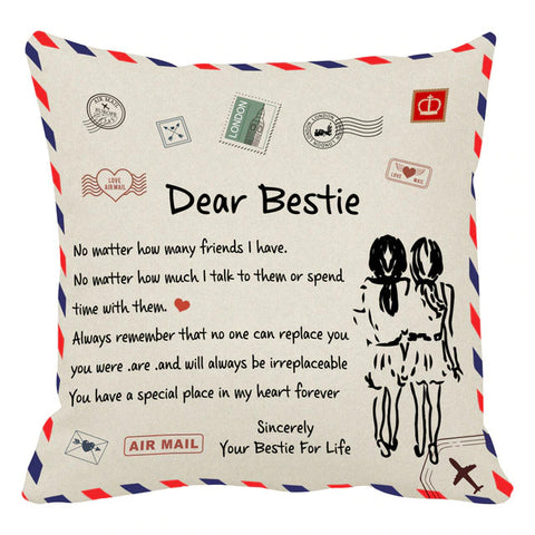 Personalized Decorative Dear Bestie Pillowcase, Home Cushion Pillow Cover-Moon & Back