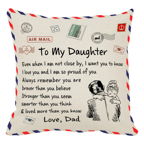 Personalized Decorative To My Daughter Home Cushion Pillowcase-Moon & Back