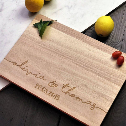 Personalized Engraved Bamboo Chopping Board Wedding Favor-Moon & Back-30cm x 20cm x 1.8cm-Moon & Back