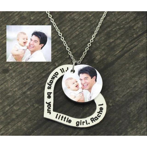 Personalized Engraved Name and Photo Necklace - Heart-Moon & Back-Colored Photo with text-20Inch(50cm)-Moon & Back