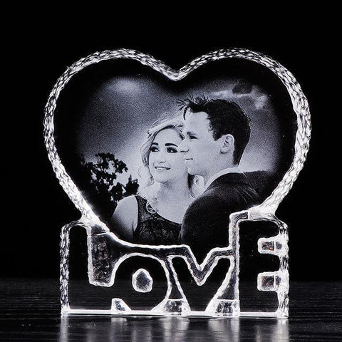 Personalized Engraved Photo Crystal Heart-Moon & Back-Moon & Back