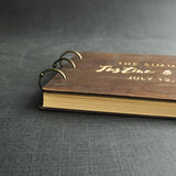 Personalized Engraved Wood Wedding Guest Book-Moon & Back-A5 50 PAGES-Moon & Back