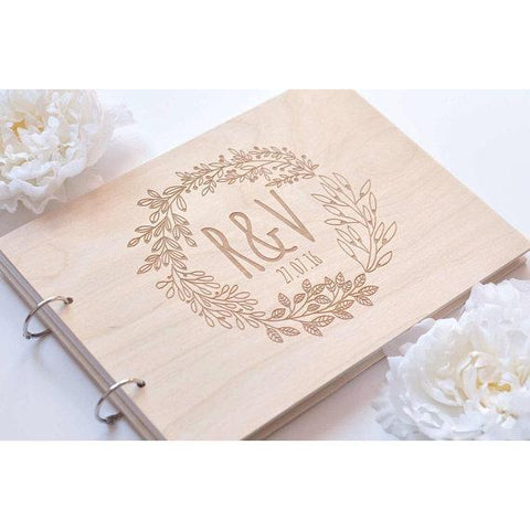 Personalized Engraved Wooden Wedding Guest Book-Moon & Back-25 sheets kraft paper-A4 size-Moon & Back